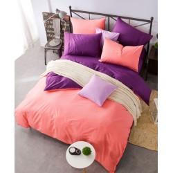 Двуцветно спално бельо от 100% памук ранфорс (цвят сьомга/лила) от StyleZone