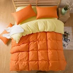 Двуцветно спално бельо със завивка (оранж/екрю) от StyleZone