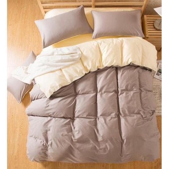 Двуцветно спално бельо със завивка (светлосиво/екрю) от StyleZone