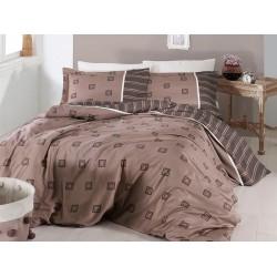 Луксозно спално бельо от сатениран памук- Ares Kahve от StyleZone