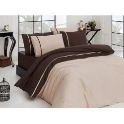 Луксозно спално бельо от висококачествен 100% сатениран памук - Ekru koyu.kahve от StyleZone