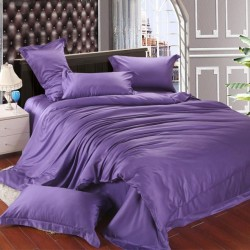 Едноцветно спално бельо от памучен сатен - МИЛКА ЛИЛАВО от StyleZone