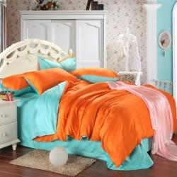 Двуцветно спално бельо от памучен сатен (цвят мента/оранж) от StyleZone