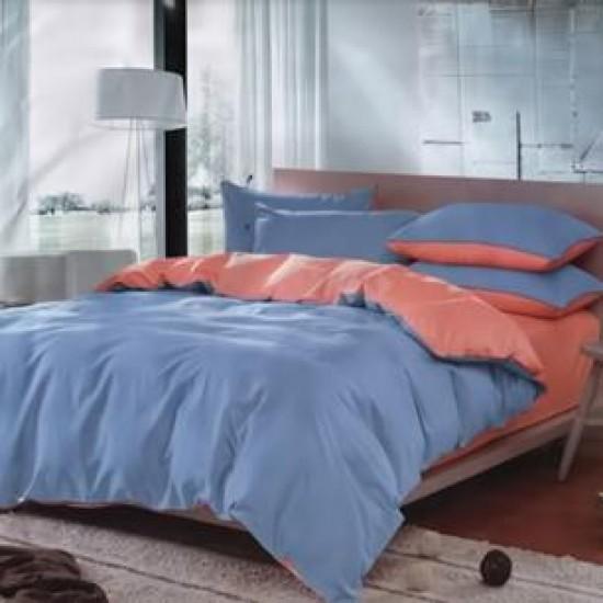 Двуцветно спално бельо от 100% памук ранфорс (цвят сьомга/светлосиньо) от StyleZone