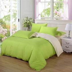 Двуцветно спално бельо от 100% памук ранфорс (лайм/екрю) от StyleZone