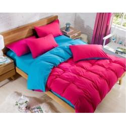 Двуцветно спално бельо със завивка (морско/ циклама) от StyleZone