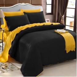 Двуцветно спално бельо от 100% памук (черно/светло жълто) от StyleZone