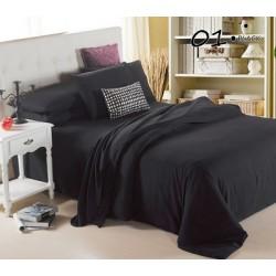 Едноцветно спално бельо от памучен сатен - ЧЕРНО от StyleZone