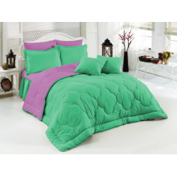 Двулицево шалте 100% памук (мента/светлолилаво) от StyleZone