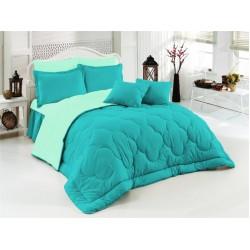 Двулицево шалте 100% памук (морско синьо/мента) от StyleZone