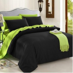 Двуцветно спално бельо от 100% памук (черно/лайм) от StyleZone