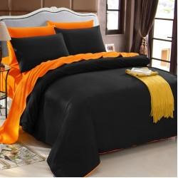 Двуцветно спално бельо от 100% памук (черно/оранж) от StyleZone