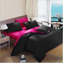 Двуцветно спално бельо от 100% памук (черно/циклама) от StyleZone