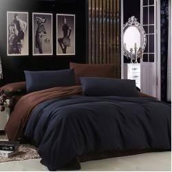 Двуцветно спално бельо от 100% памук (черно/тъмнокафяво) от StyleZone