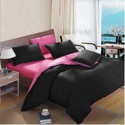 Двуцветно спално бельо от 100% памук (черно/бейби розово) от StyleZone