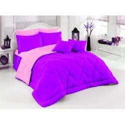 Двулицево шалте 100% памук (светлорозово/тъмнолилаво) от StyleZone