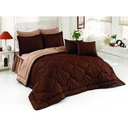Двуцветно спално бельо със завивка (кафяво/екрю) от StyleZone