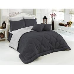 Двуцветно спално бельо със завивка (черно/сиво) от StyleZone