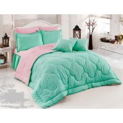 Двуцветно спално бельо със завивка (мента/светлорозово) от StyleZone