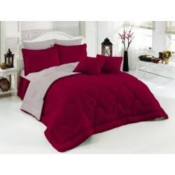 Двуцветно спално бельо със завивка (бордо/сиво) от StyleZone