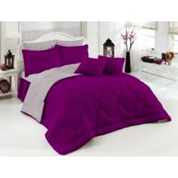 Двуцветно спално бельо със завивка (тъмнолилаво/сиво) от StyleZone