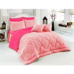 Двуцветно спално бельо със завивка (бейби розово/светлорозово) от StyleZone
