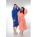 Едноцветен халат за баня 100% памук ритон - КОРАЛ от StyleZone