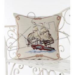 Испанска декоративна възглавница с цип - ЧЕРВЕН КОРАБ от StyleZone