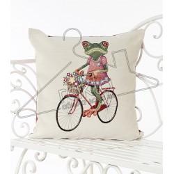 Испанска декоративна калъфка за възглавница с цип - ЖАБА С КОЛЕЛО от StyleZone