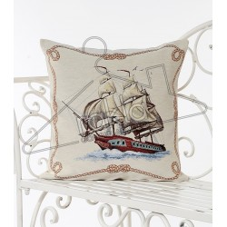 Испанска декоративна калъфка за възглавница с цип - ЧЕРВЕН КОРАБ от StyleZone