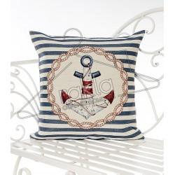 Испанска декоративна калъфка за възглавница с цип - КОТВА СИНЬО от StyleZone