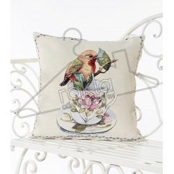 Испанска декоративна калъфка за възглавница с цип - ПРОЛЕТНА ПТИЧКА от StyleZone