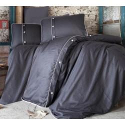 Едноцветно спално бельо от 100% сатениран памук - Pavane V4 Black от StyleZone