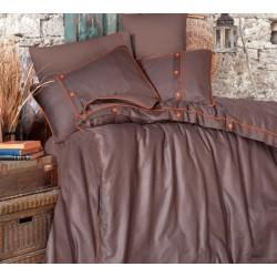 Едноцветно спално бельо от 100% сатениран памук - Pavane V3 Brown от StyleZone