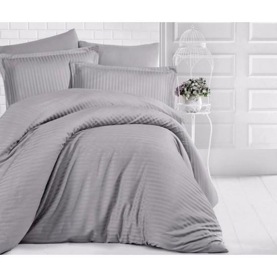 Едноцветно спално бельо на райе от 100% сатениран памук - Uni Grey от StyleZone