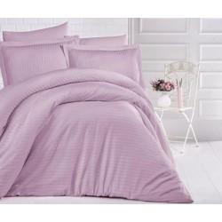 Едноцветно спално бельо на райе от 100% сатениран памук - Uni Lilac от StyleZone