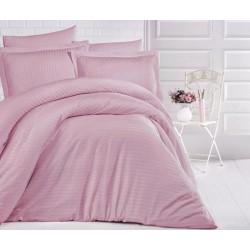 Едноцветно спално бельо на райе от 100% сатениран памук - Uni Pembe от StyleZone
