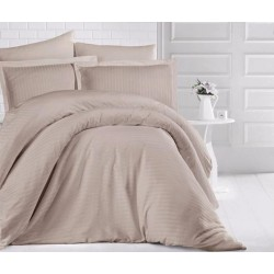 Едноцветно спално бельо на райе от 100% сатениран памук -  Uni Cappuccino от StyleZone