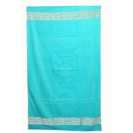 Едноцветна плажна кърпа от висококачествен памук - ТЮРКОАЗ от StyleZone