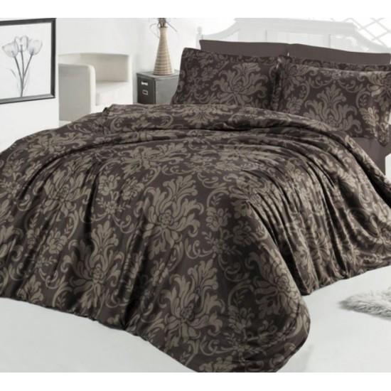 Стилно спално бельо от 100% сатениран памук - Calligra V4 Brown от StyleZone