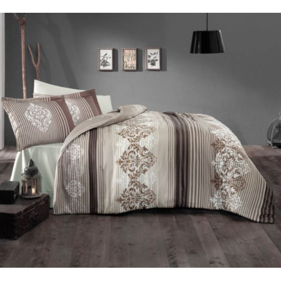 Стилно спално бельо от 100% сатениран памук - Marvella V1 Brown от StyleZone