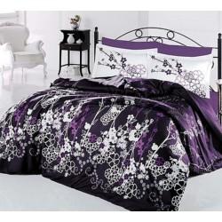 Стилно спално бельо от 100% сатениран памук - Harmony V2 Purple от StyleZone