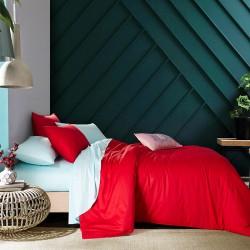 Двуцветно спално бельо от 100% памук ранфорс (червено/светло синьо) от StyleZone