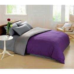 Двуцветно спално бельо от 100% памук ранфорс (тъмно лилаво/графитено сиво) от StyleZone