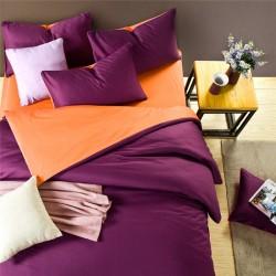 Двуцветно спално бельо от 100% памук ранфорс (тъмно лилаво/оранж) от StyleZone