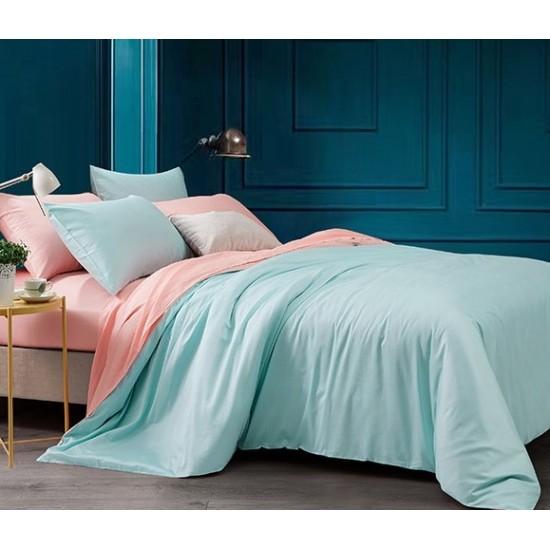 Двуцветно спално бельо от 100% памук ранфорс (светло розово/петрол) от StyleZone