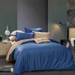 Двуцветно спално бельо от 100% памук ранфорс (тъмно синьо/канела) от StyleZone