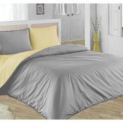 Двулицево шалте 100% памук (светло жълто/сиво) от StyleZone