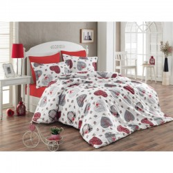 Спално бельо от 100% памук с олекотена завивка - СЪРЦА от StyleZone