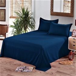 Едноцветен долен чаршаф от 100% памук - ТЪМНО СИНЬО от StyleZone